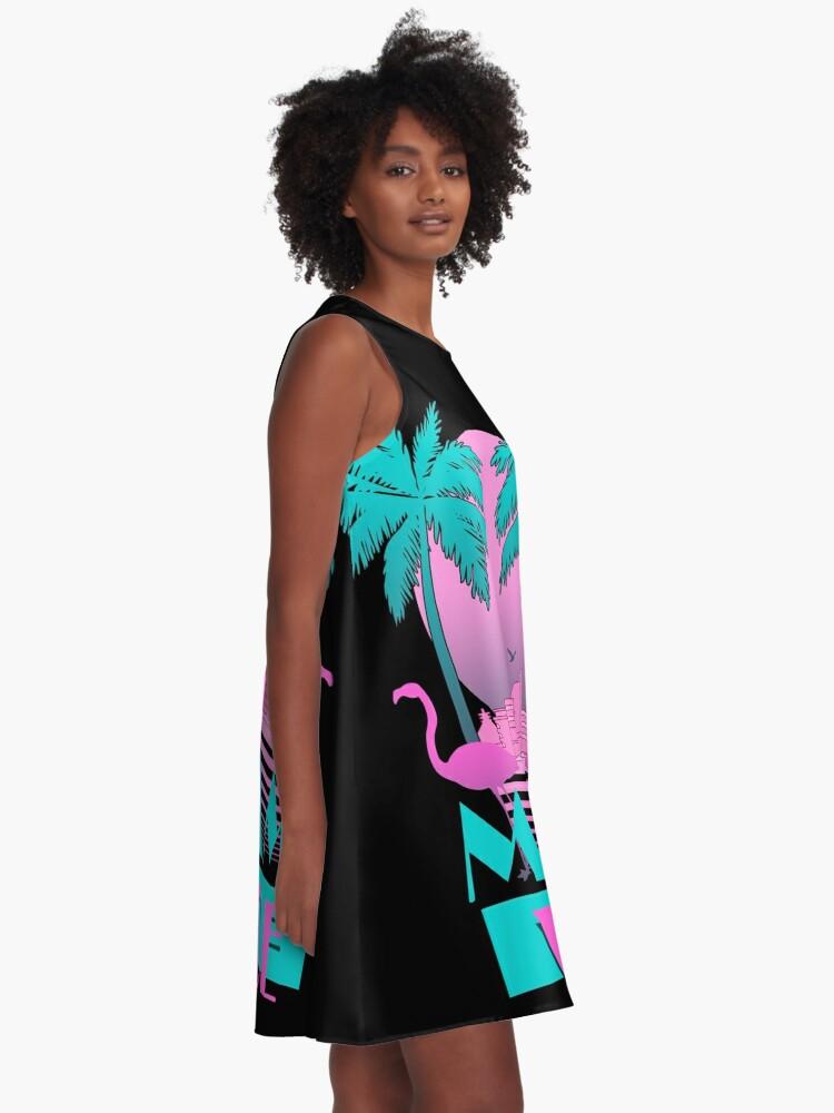 Alternate view of Miami Vice - Retro 80s Design A-Line Dress