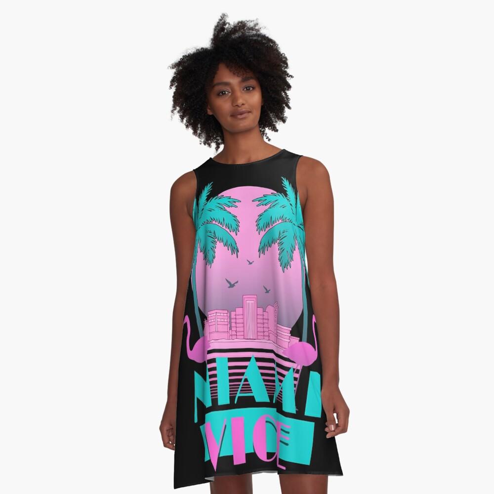 Miami Vice - Retro 80s Design A-Line Dress