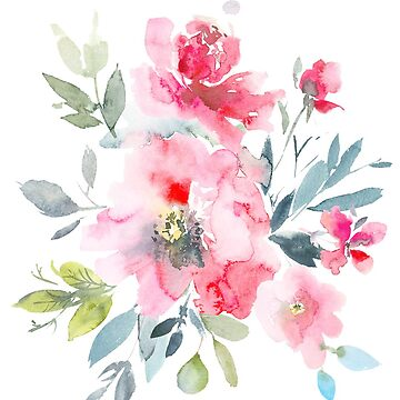 Aquarell-rote Ombre-Garten-Rosen von PixDezines