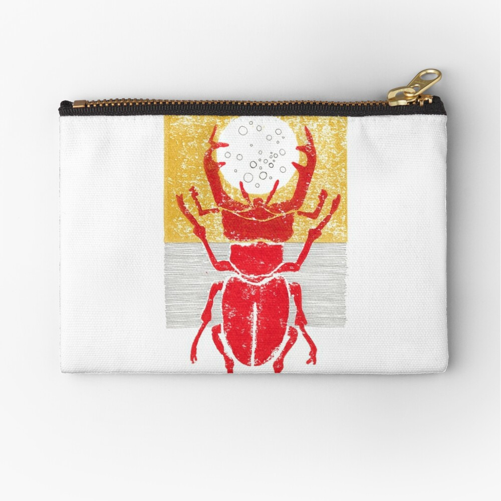 Red stag facing a golden sky Zipper Pouch