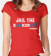 JAIL THE BANKERZ pig white Fitted Scoop T-Shirt