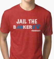JAIL THE BANKERZ pig white Tri-blend T-Shirt