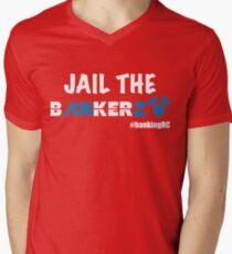 JAIL THE BANKERZ pig white Men's V-Neck T-Shirt