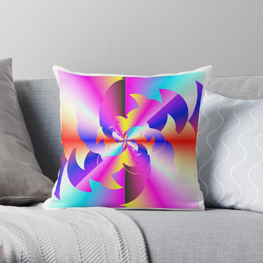 Fractal Rainbow Throw Pillow