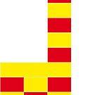 Giraffe aus Bausteinen - rot und gelb von Sandra Bessière