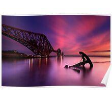 Forth Rail Bridge Sunset Poster