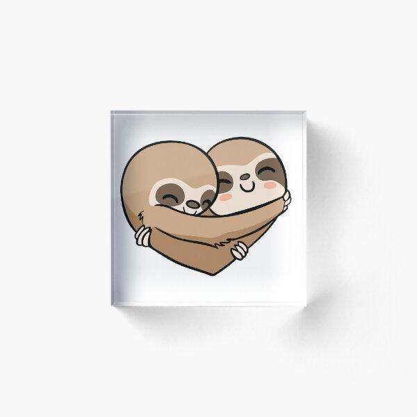 Sloth  Heart Acrylic Block