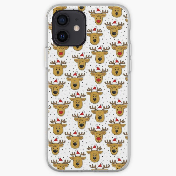 reindeer in Santa Claus hats seamless pattern on white iPhone Soft Case