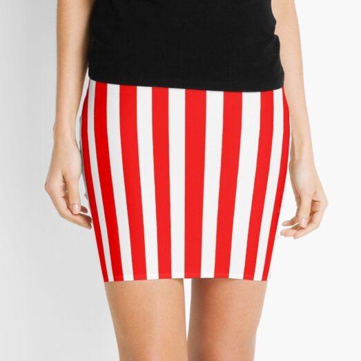 Red and White Stripes Fashion Design - Always in style Mini Skirt