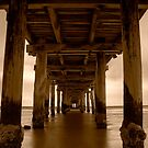 Dusk Under Seaford Pier in Sepia by Jason Green