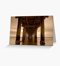 Dusk Under Seaford Pier in Sepia Greeting Card