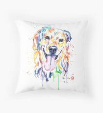 Golden Retriever Colourful Painting Throw Pillow