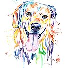 Golden Retriever Colourful Painting by Lisa Whitehouse