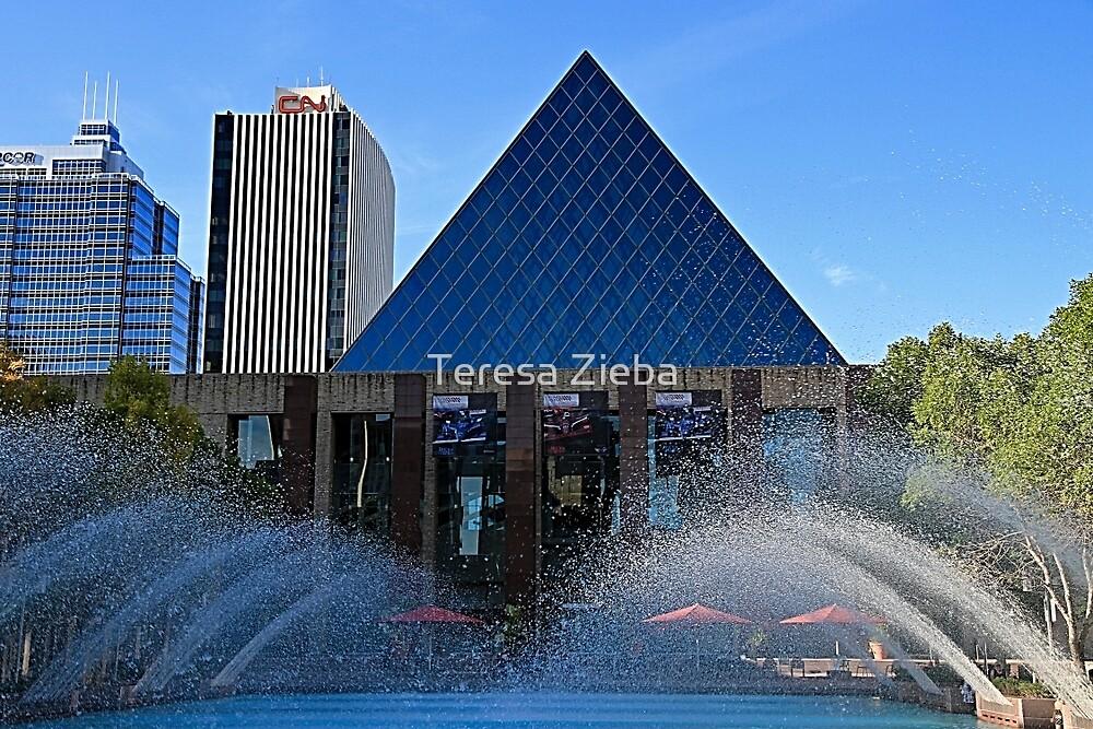 Edmonton City Hall and fountains  by Teresa Zieba