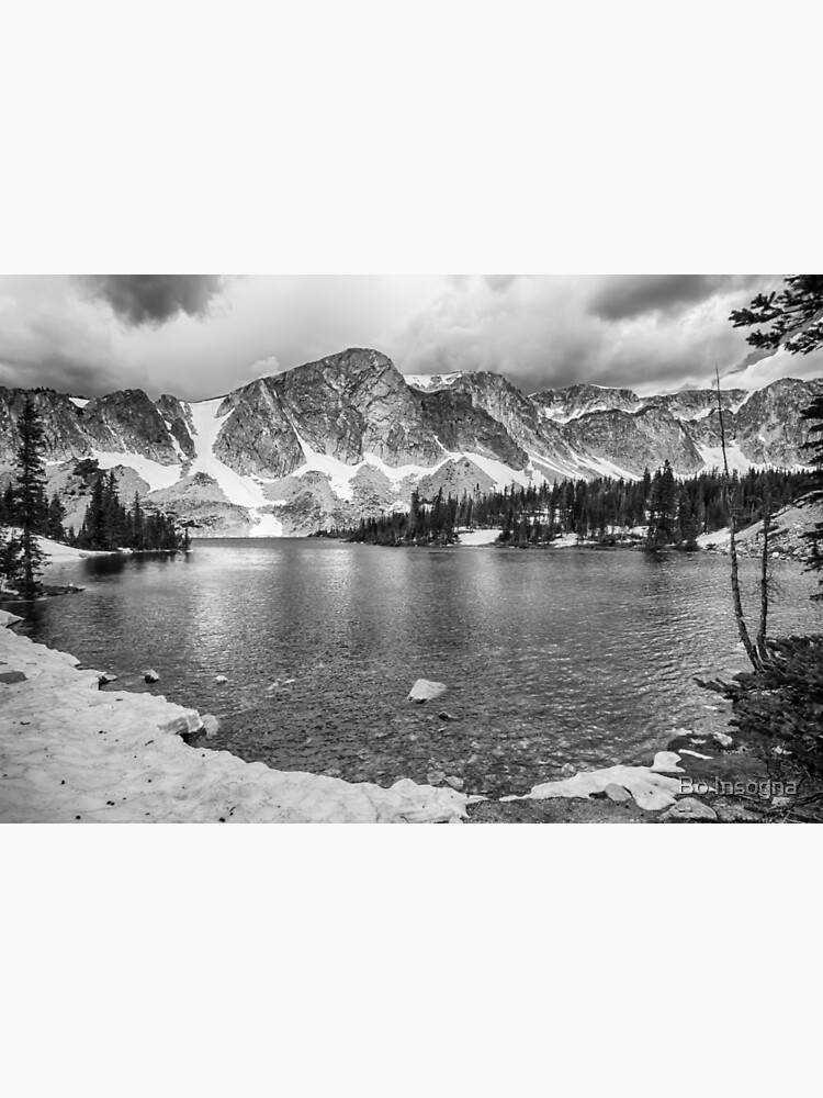 Medicine Bow Lake View in Black and White by mrbo