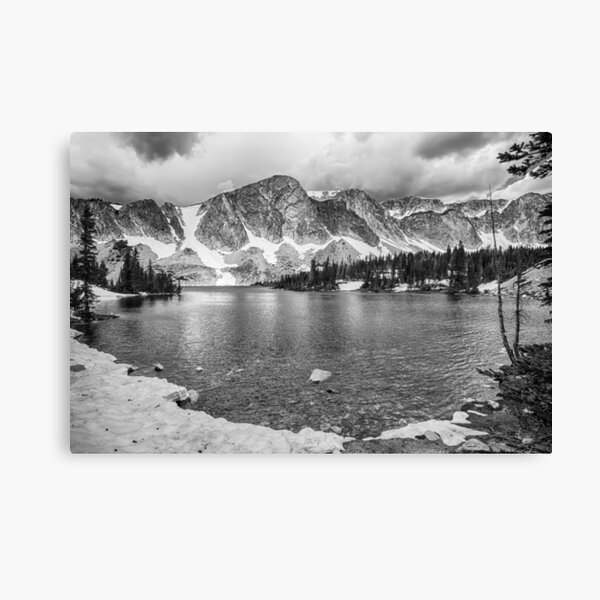 Medicine Bow Lake View in Black and White Canvas Print