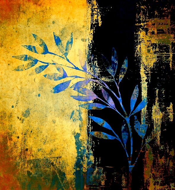 blue leaves on gold by clemfloral