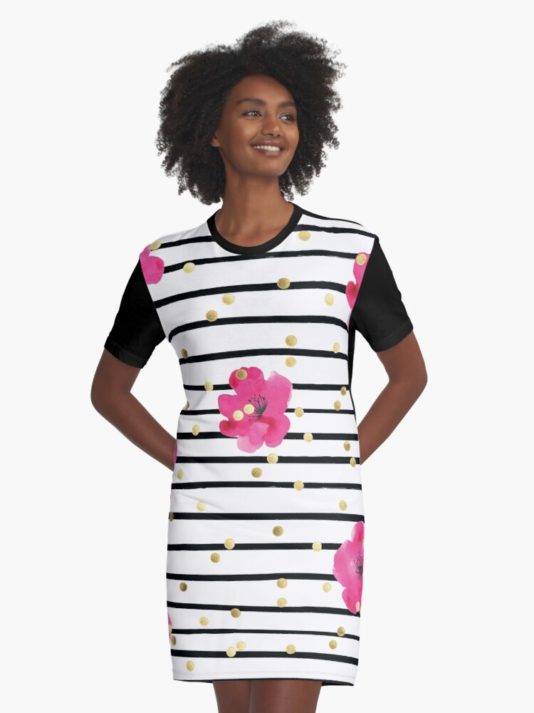 c0fcee945f0 Floral Stripe and Gold Dot Design Kate Spade Inspired Fun Chic Graphic T-Shirt  Dress