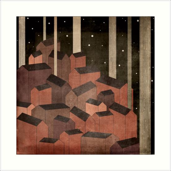 Le village rouge dans la nuit by designeous