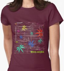 Colorful Marijuana Leaves and Scratches Womens Fitted T-Shirt
