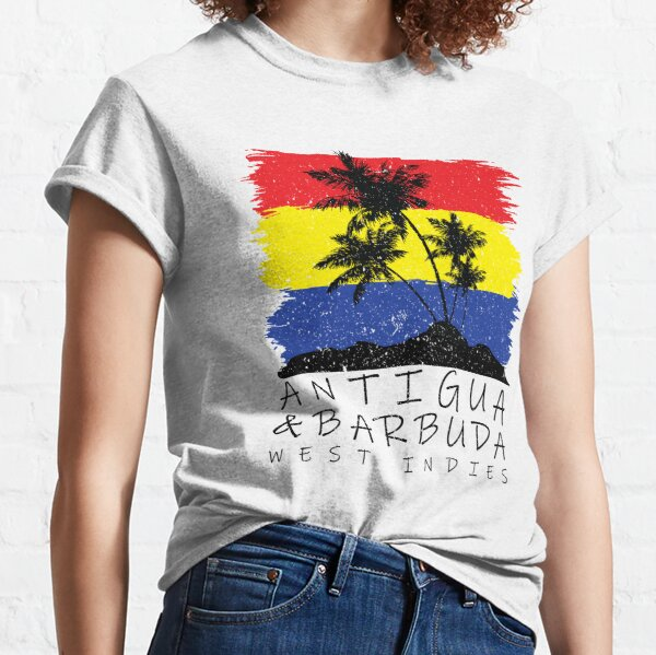Antigua and Barbuda National Colours in Background of Palm silhouette Classic T-Shirt