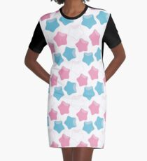 Pride Stars - Transgender Pride Flag Colors Graphic T-Shirt Dress