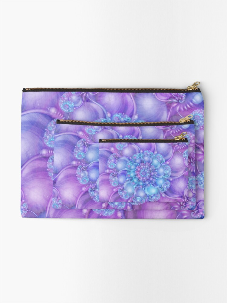 Alternate view of Cerulean Blue and Violet Purple Spiral Zipper Pouch