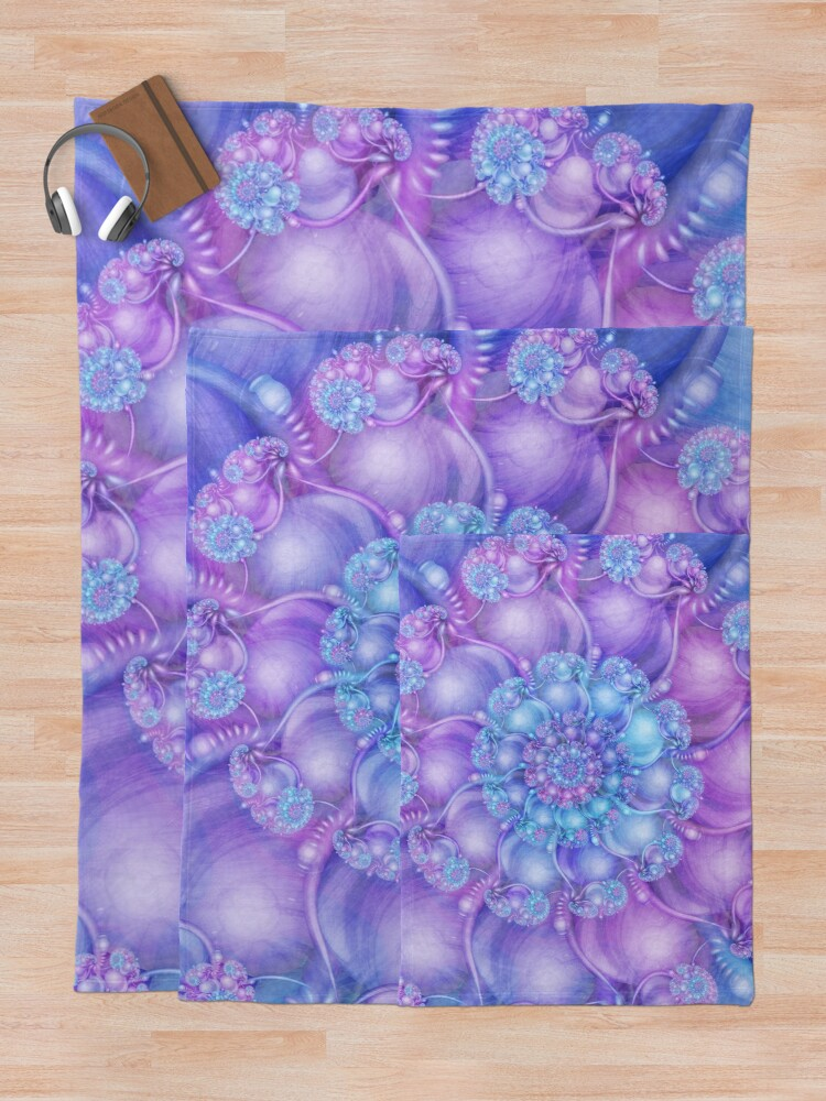 Alternate view of Cerulean Blue and Violet Purple Spiral Throw Blanket