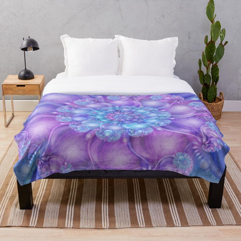 Cerulean Blue and Violet Purple Spiral Throw Blanket