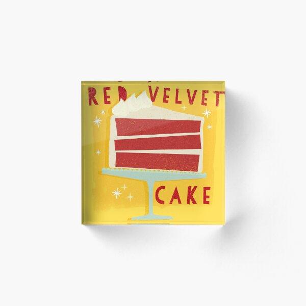All American Classic Red Velvet Cake Acrylic Block