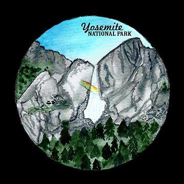 Yosemite National Park Watercolor on Black by shoshannahscrib