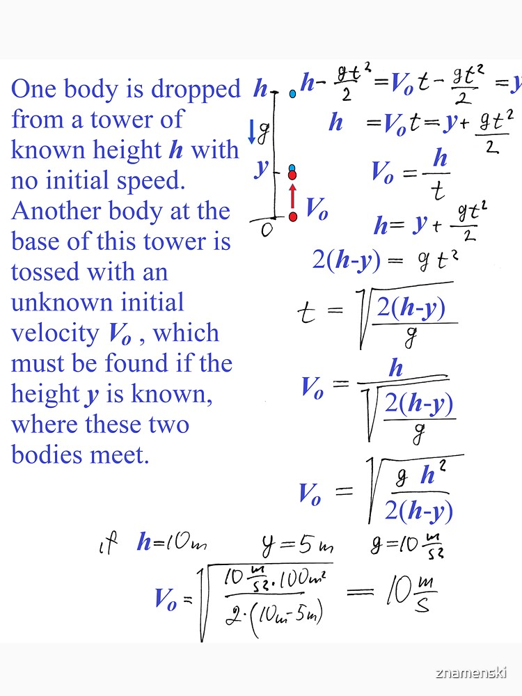 Physics Problem #Physics #Problem #PhysicsProblem One body is dropped from a tower of known height h with no initial speed by znamenski