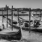 Gondolas across from Le Zitelle - B&W by Tom Gomez