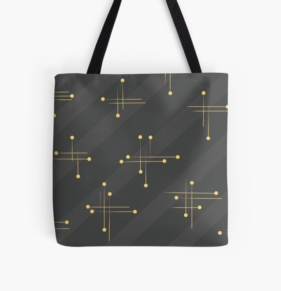 Midcentury motif with gray and yellow All Over Print Tote Bag