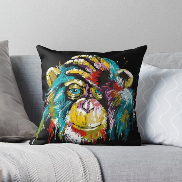 Illustration Monkey Watercolor Throw Pillow