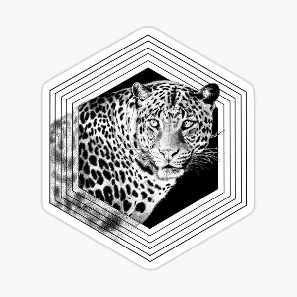 Geometric Hand Drawn Leopard Cheetah African Cat  Sticker