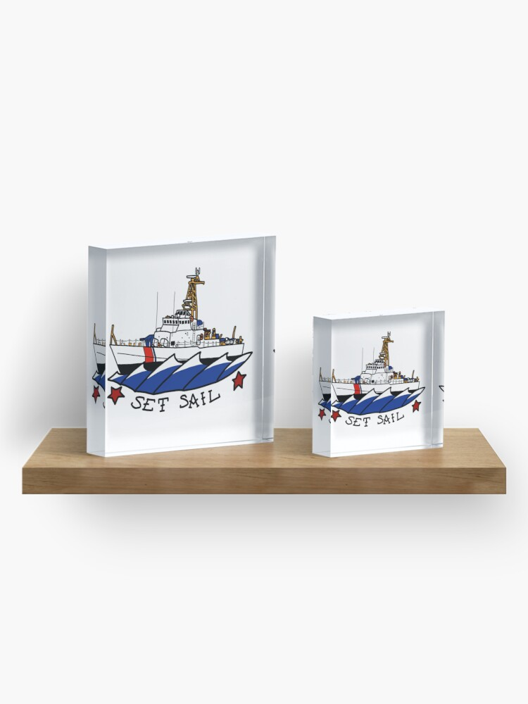 Alternate view of CG 110 Patrol Boat Set Sail Acrylic Block