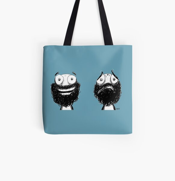 Happy and Sad All Over Print Tote Bag