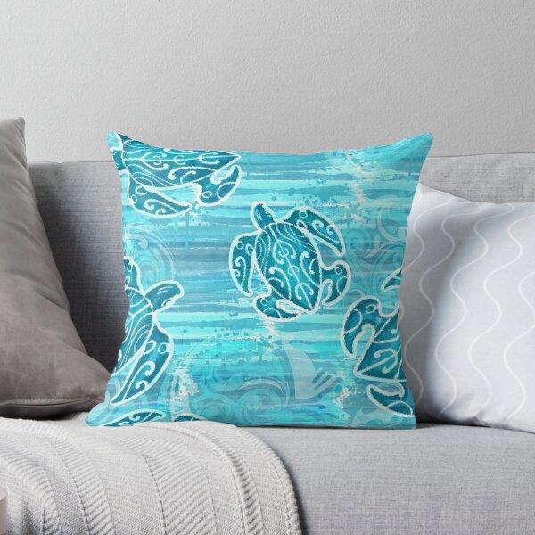 Blue Hawaiian Tribal Turtles Throw Pillow