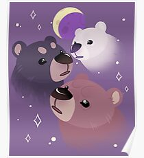 Three Bear Moon Poster