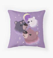 Three Bear Moon Throw Pillow