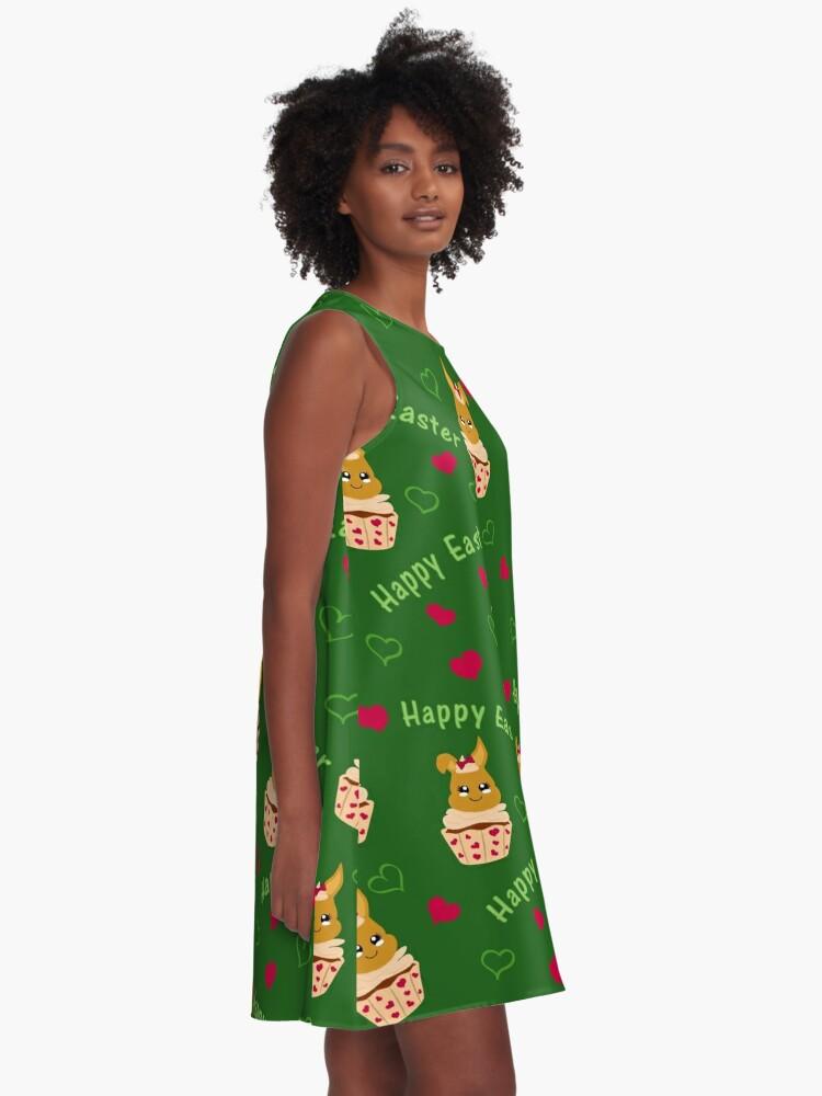 Alternative Ansicht von Putziges Ostermuster A-Linien Kleid