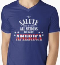 A Salute to All Nations (But Mostly America) Men's V-Neck T-Shirt
