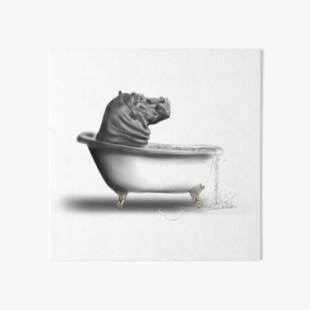 Hippo in the bath Art Board Print