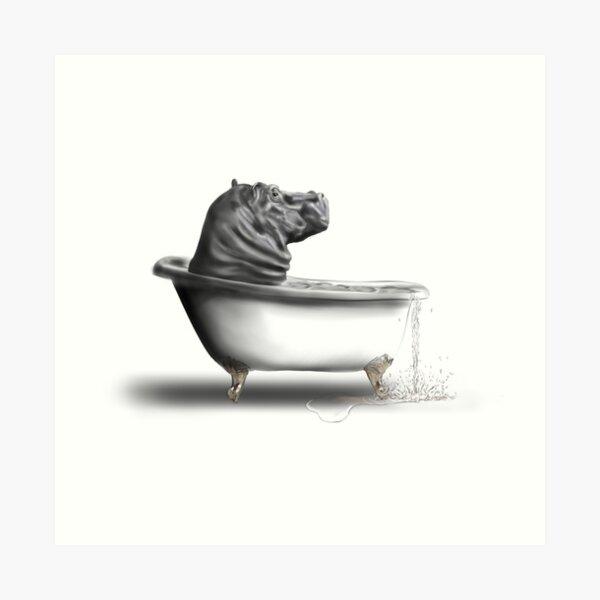 Hippo in the bath Art Print