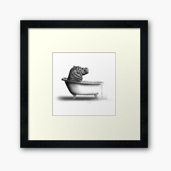 Hippo in the bath Framed Art Print