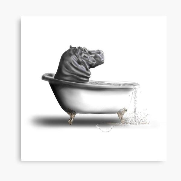Hippo in the bath Metal Print