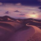 Sunset on sand dunes by Soualigua