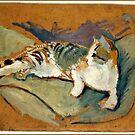 Macke - Cat on the Green Pillow by virginia50