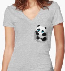 Pocket Panda Women's Fitted V-Neck T-Shirt